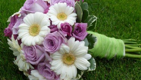 Букет, цветы, трава