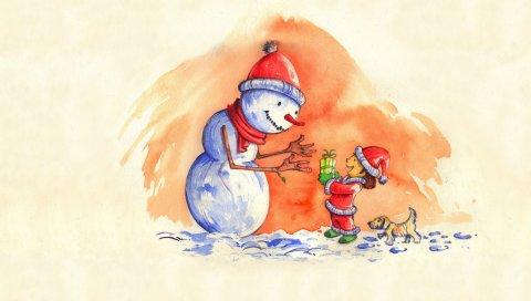 Снеговик, подарок, новый год, ребенок