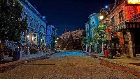 Город, ночь, огни, улица, здание