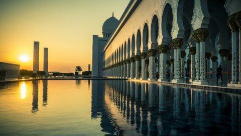 Дубай, вода, прекрасный, закат