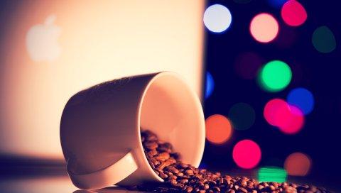 Кружка, зерно, кофе, свет, зеленый, розовый, синий, оранжевый, белый