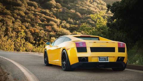 Желтый, дорога, lamborghini