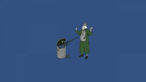 Старик, оружие, корзина