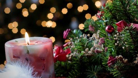 свечи, ель, ветвь, новый год