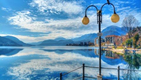 Omegna, Италия, Орта, фонарь, горы, отражение