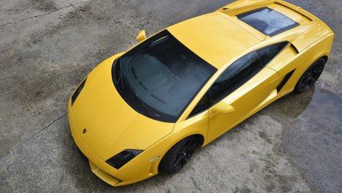 желтый, ламборджини, автомобили