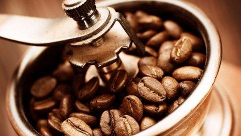 кофе, зерна, кофемолка, макро
