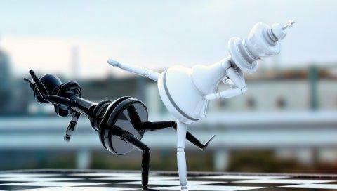 шахматы, фигуры, борьба, доска