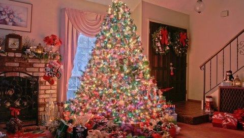 праздник, елка, новый год, орнамент