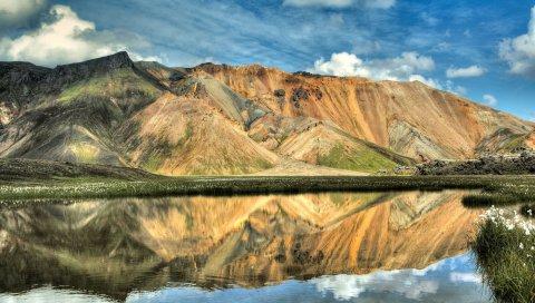 гора, отражение, небо, свет