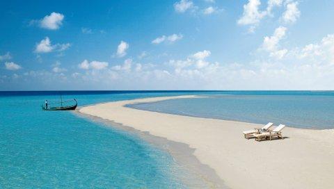 мальдивы, пляж, тропический, море, песок, остров, лодка