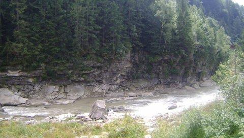 деревья, река, скалы