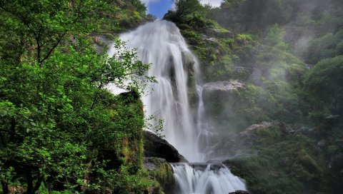 водопад, трава, деревья ,