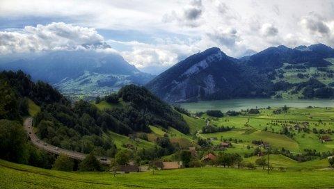 горы, трава, верхняя,подножий