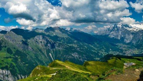 горы , трава, красивый, добрый, свобода
