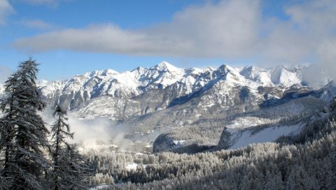 снег, деревья, горы, небо, зима, верхние