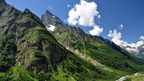 горы, небо, трава, кавказ, природа