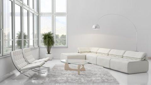 Мебель, диван, белый, стиль, интерьер