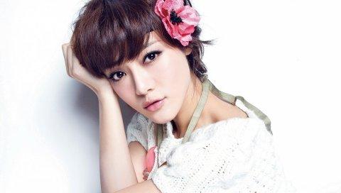 Девушка, азиатская, лицо, цветок
