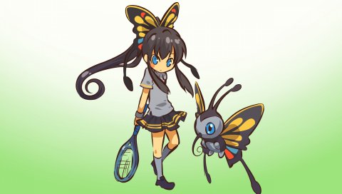 Девушка, бабочка, красочный