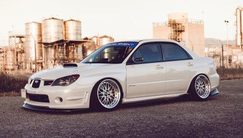 Subaru impreza, wrx sti, автомобили, стиль, белый