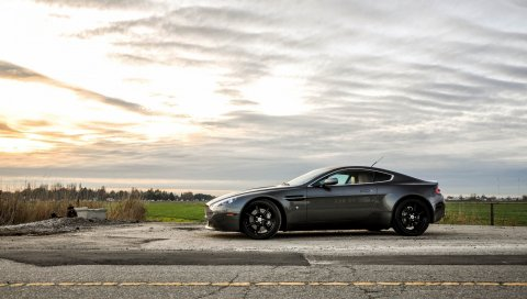Aston martin, v8, vantage, автомобили, природа