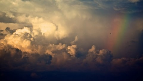 Небо, свет, природа, радуга