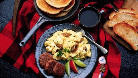 блины, картофель, мясо, продукты питания, ужин