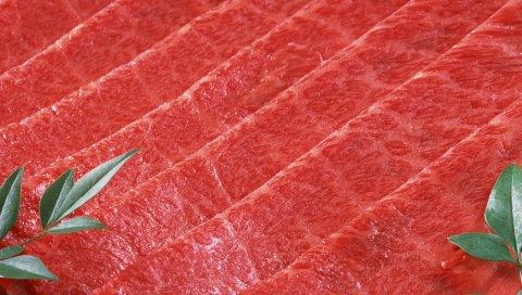 мясо, зелень, нарезанный