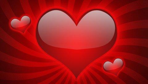 сердце, красная, линия, любовь