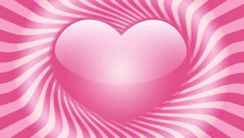 сердце, полосы, линия, вращение