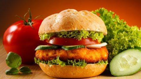 гамбургер, мясо, овощи, булочка