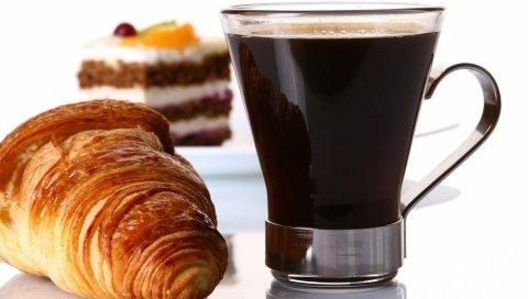 кофе, круассаны, еда, питье