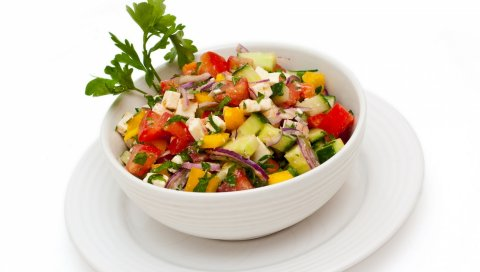 салат, овощи , тарелки, нарезанный