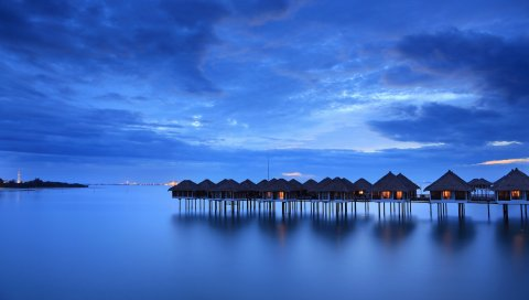 спокойный, море, дома, пляж, малайзия