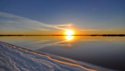 озеро, закат, пляж, пейзаж
