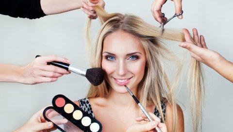 макияж, косметика, лицо, улыбка