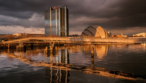 шотландия, Glasgow, река, мост, строительство