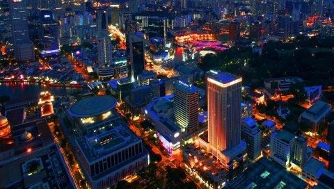 Сингапурские, ночь, здание