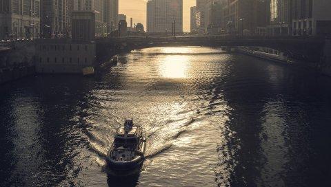 реки, мост, город, небо
