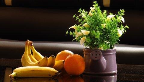 апельсин, бананы, фрукты