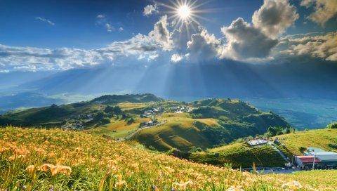 трава, небо, горы, свет, блеск