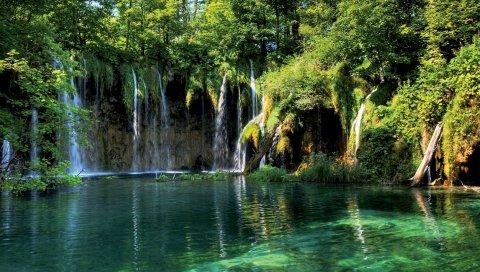 водопад, скалы , трава, река