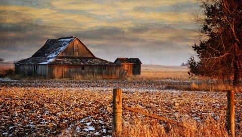 зима, трава, небо, здание