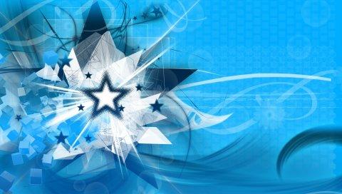 Звезда, куб, сфера, линии, лучи, вектор