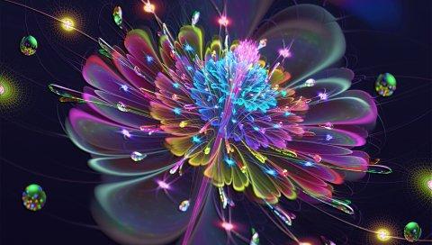 Цветок, дым, линии, яркие