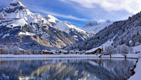 Швейцария, кантон обвальден, engelberg, озеро, горы, пейзаж