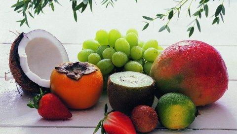 Клубника, киви, кокос, хурма, еда, фрукты, виноград