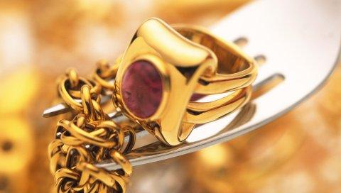 Цепь, кольцо, золото, вилка