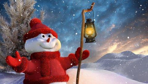 снеговик, персонал, фонарь, 3d график, зима, снег, гора, дерево
